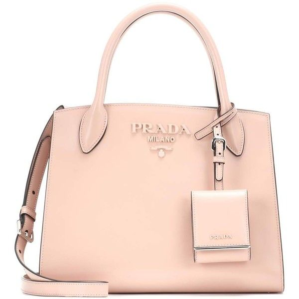 Prada Monochrome Leather Tote ( 2,035) ❤ liked on Polyvore featuring bags,  handbags, 5f93a55586