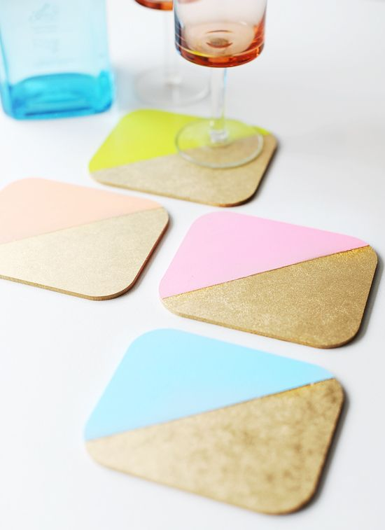Color Block Coasters: We could dip wood and cork samples in paint to make coasters. We could always use the machines in the wood shop downstairs to cut the larger wood samples down to size. -Claire