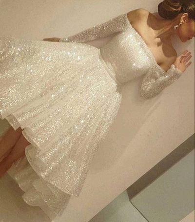 Sexy High Low Long Prom Dresses, sequin Prom Dresses, white sequins Prom…
