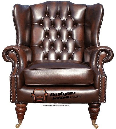 Chesterfield Dorchester High Back Wing Chair UK Manufactured Antique Brown, Leather Sofas, Traditional Sofas