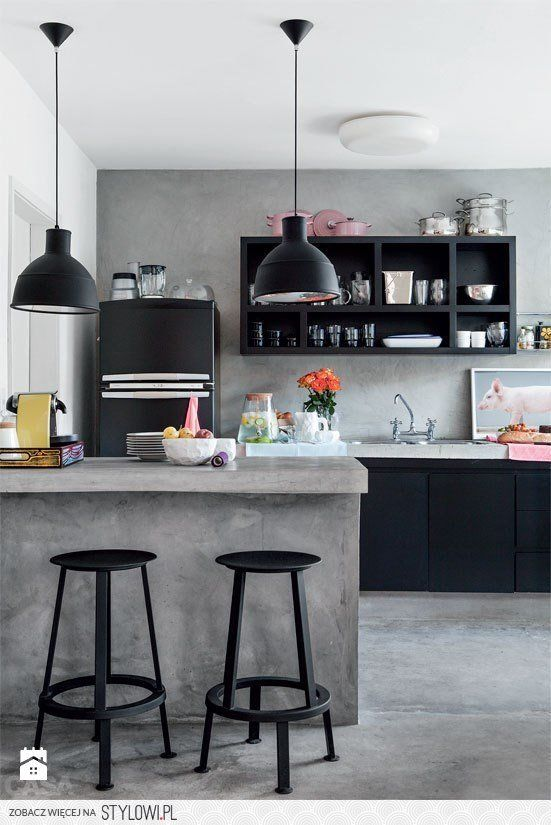 Kuchnia czarno szara Kuchnia - zdjęcie od Design Spichl… na Stylowi.pl