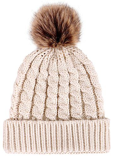 67b862fd0531e ThunderCloud Winter Hand Knit Beanie Hat with Faux Fur Pompom ...