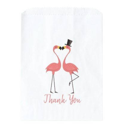 Pink Thank You Flamingos Wedding Party Luau Favor Bag - pink gifts style ideas cyo unique