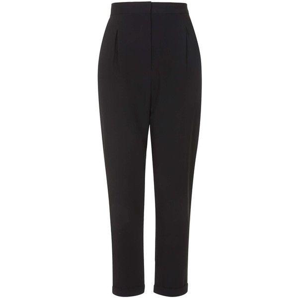 TOPSHOP Seam Back Cigarette Pants ($38) ❤ liked on Polyvore featuring pants, black, pocket pants, topshop pants, cigarette trousers, black pants and black trousers