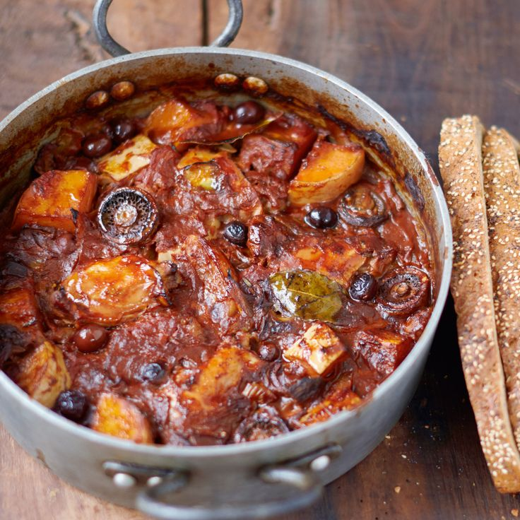 Chicken & Squash Cacciatore, Mushrooms, Tomatoes, Olives, Bread