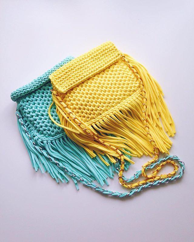 Cartera de totora. Sobre. Trapillo. Tejidos. Crochet.