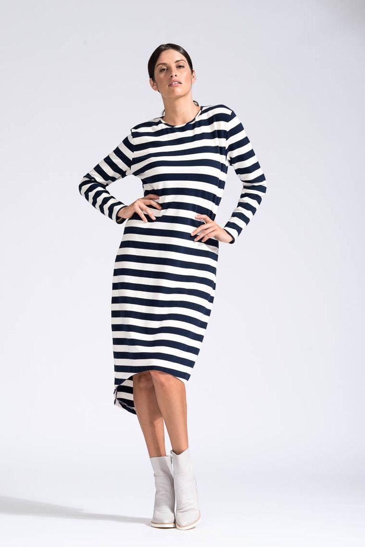 Midi Striped Dress Navy & Cream Stripe - Bohemian Traders