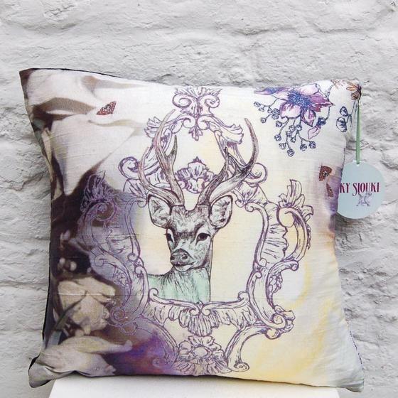 Deer Dream silk screen cushion by Sky Siouki