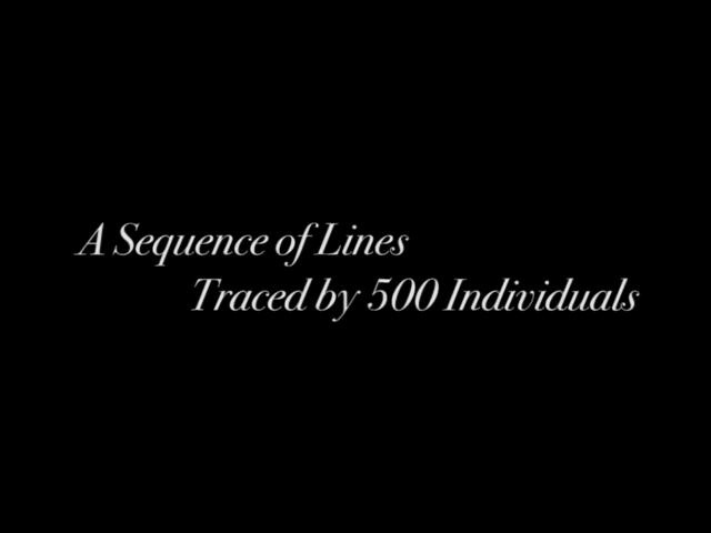 A Sequence of Lines Traced by Five Hundred Individuals by clement valla. A Sequence of Lines Consecutively Traced by Five Hundred Individuals is an online drawing tool that lets users do just one thing - trace a line. Each new user only sees the latest line drawn, and can therefore only trace this latest imperfect copy. As the line is reproduced over and over, it changes and evolves - kinks, trembling motions and errors are exaggerated through the process.