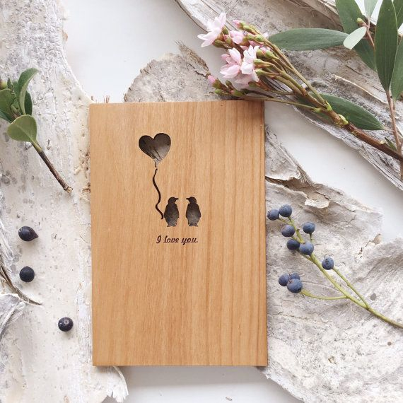 Penguin Love Card  Wood Anniversary Card Valentine by Cardtorial