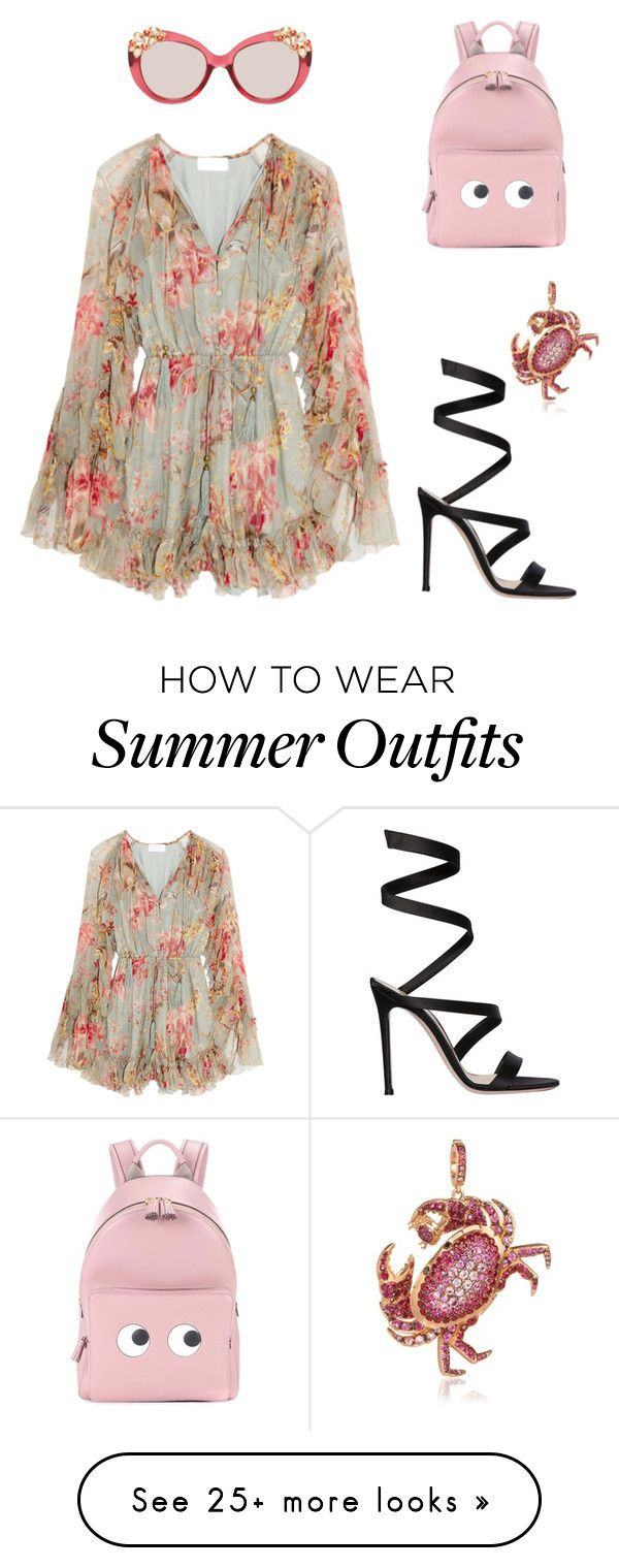 """""""Cheek and cute summer outfit"""" by tychellparrish on Polyvore featuring Zimmermann, Annoushka, Gianvito Rossi, Anya Hindmarch and Jimmy Choo"""