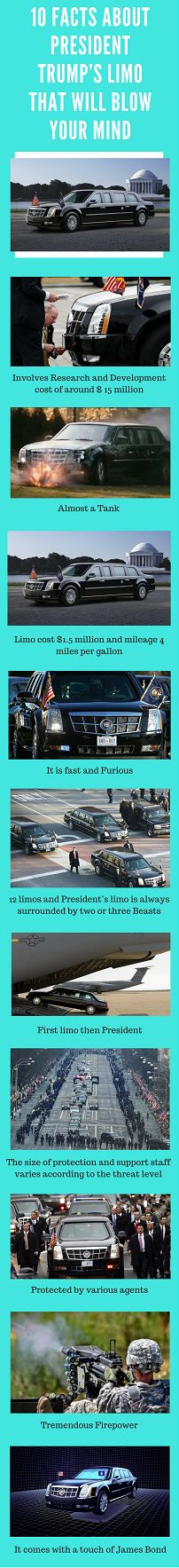 """We don't know how much you are familiar with the facts related to the Trump's limo, let us introduce you to """"The Beast"""" (Cadillac Limousine). Actually, a lot many facts have been kept secret about the car, but a few have leaked out over the years. One thing is for sure which is known to everybody that Trump now  rides in one of the most sole and secure car on the planet."""