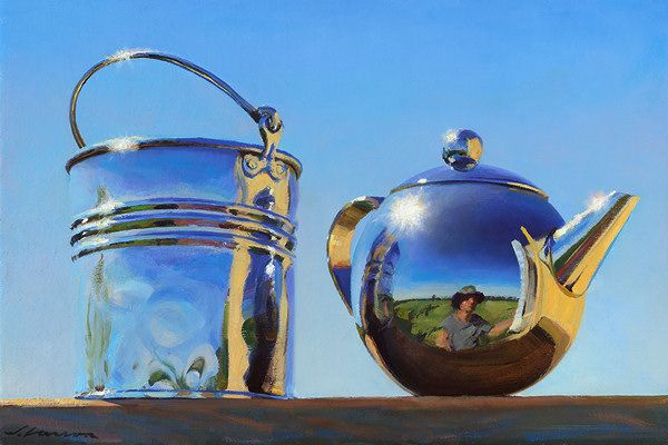 Can you believe this is Oil On Canvas? Pail & Teapot by Jeffrey T. Larson