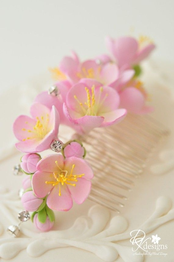 Made to Order - Clay Cherry Blossom Hair Comb with Rhinestones