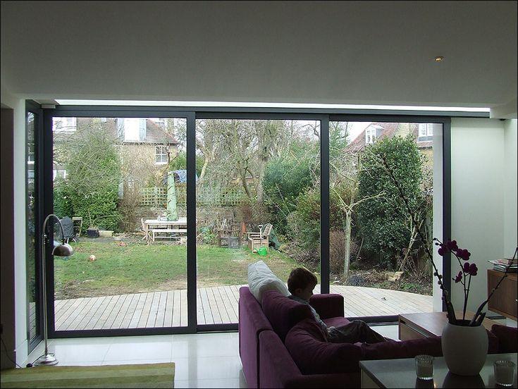 See the way sliding doors slide over corner wall garden for Sliding glass doors garden