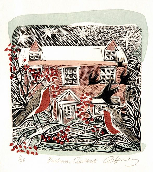 """Bircham Christmas"" by Angela Harding (lino & silkscreen)"