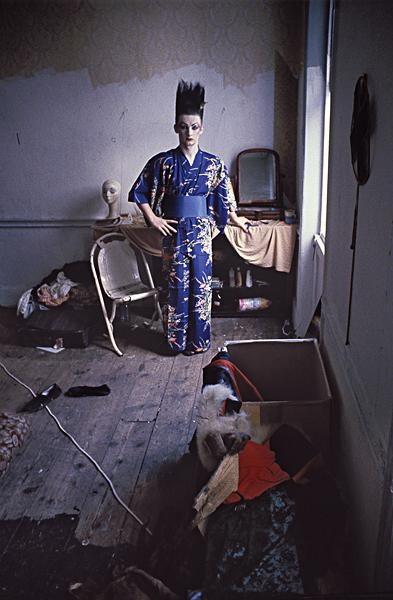 Derek Ridgers: George O'Dowd at the Carburton Street squat, 1980.