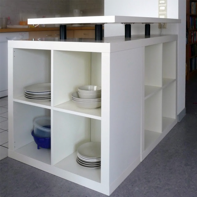 L-shaped expedit kitchen island, a great idea for an in-between kitchen. -- from ikeahackers.net