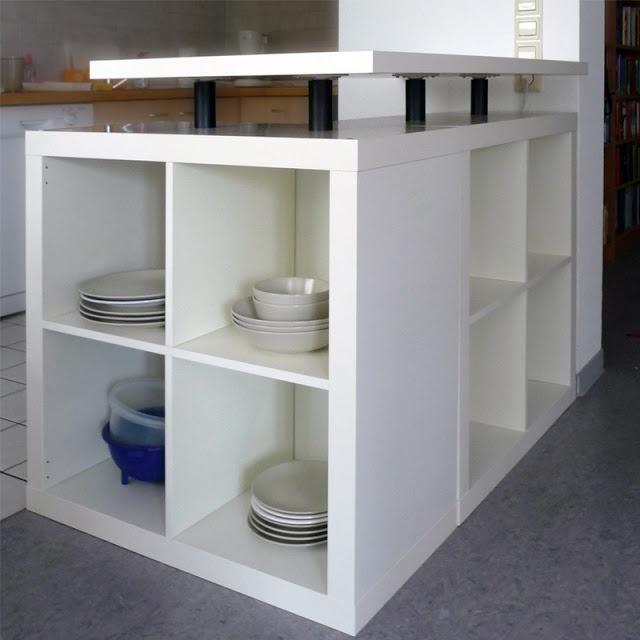 #ikea EXPEDIT shelving unit: L-shaped kitchen island