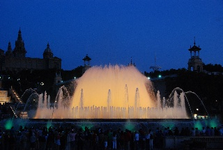 Magic Fountain of Montjuïc- Barcelona, Spain.  This is the neatest fountain!  It was built in 1929 and I was stunned to see the colors and music all synchronized.  Amazing for something built in the early 1900's!  June 2010