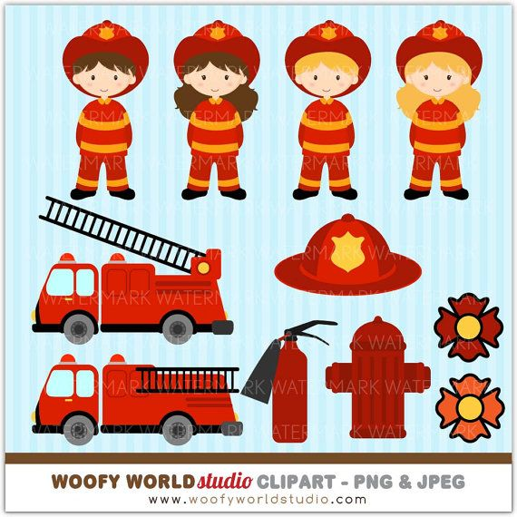 Fire Engine Kid Clipart  INSTANT DOWNLOAD  by WoofyWorldStudio, $5.00