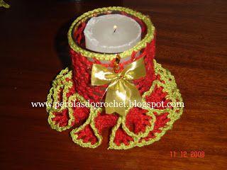 * Pérolas do Crochet: Porta velas de crochet