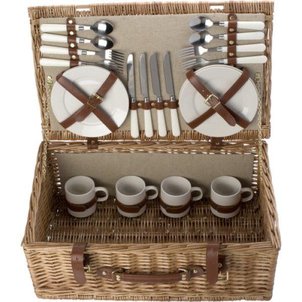 Luxe wilgen picknickmand voor 4 personen. #Picknick #Picknickmand #Mand #Lente #Voorjaar