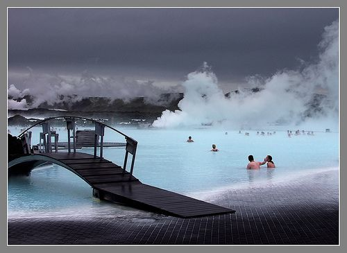 Iceland's Blue Lagoon Geothermal Spa 98°-104°F -> only 20 minutes from the airport and a great way to start/end your trip