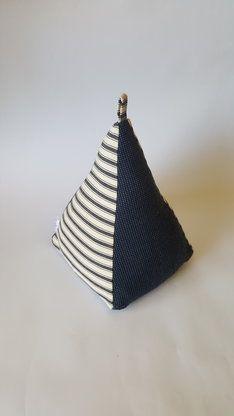 Extra Large, Extra Heavy, Navy Blue Striped Fabric Doorstop, Easy to Wash, Door Stopper by TammyTiger Doorstops