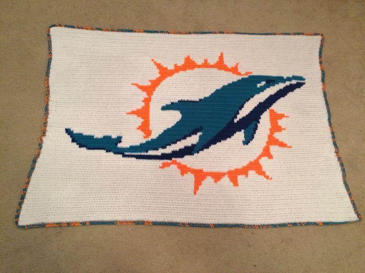 Miami Dolphins Crochet Blanket Crochet Pinterest
