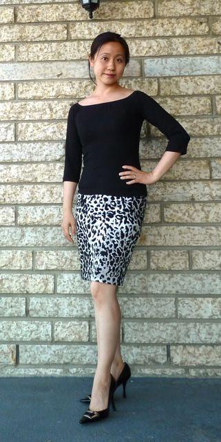 b+w leopard pencil skirt