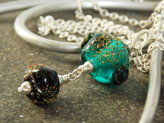 teal summer artisan lampwork necklace luxe glass necklace