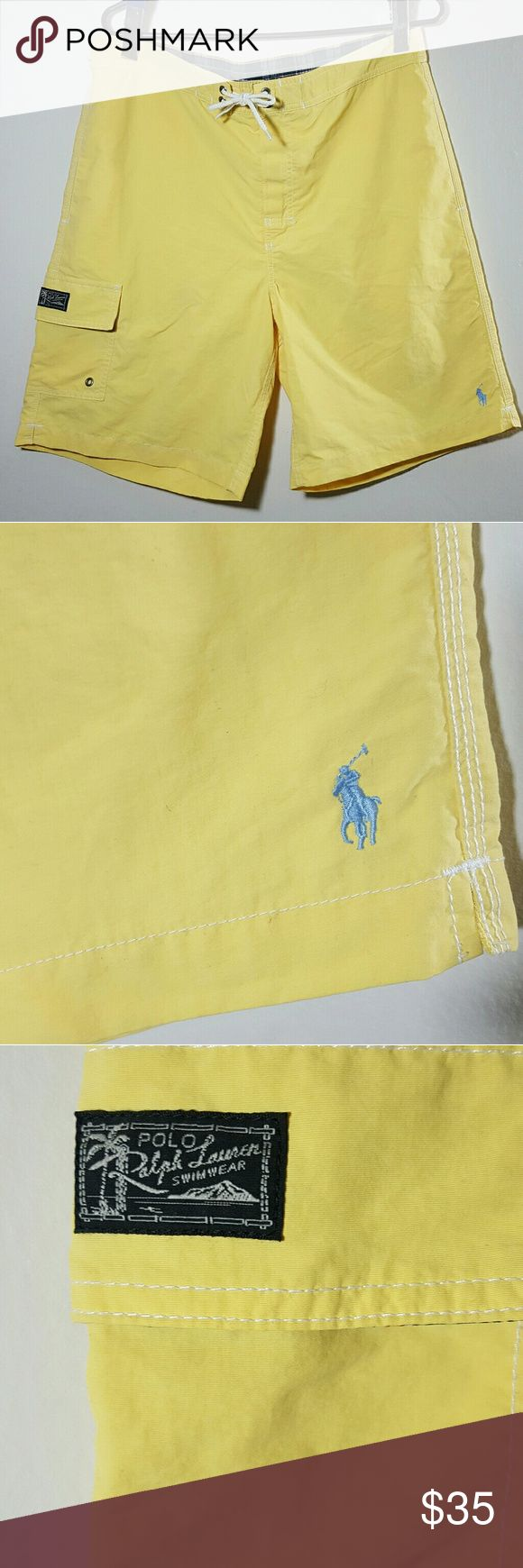 NWOT Polo Ralph Lauren Swim Shorts Swimming Trunk Brand new without tags Mens Swim Shorts by Polo Ralph Lauren Classic swimming trunks SIZE M Color name is summer yellow Elastic waist at back Velcro fly with drawstring closure at front Onseam side front pockets Coin pocket on inside Pocket on right with Polo logo patch on flap Inside mesh lining Shell is 100% Nylon Lining is 100% Polyester Machine washable Ralph Lauren Swim Swim Trunks