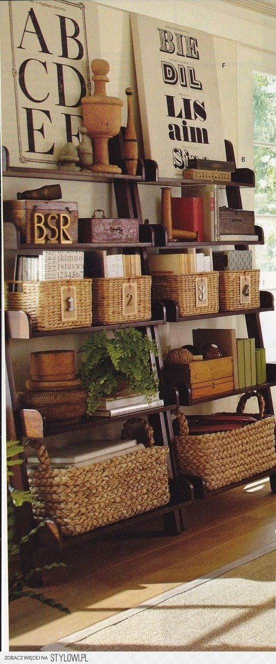 organizing and decorating with baskets. especially like them with a mix of modern (e.g. stainless steel) by iifka