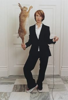 Self Portrait in a Single Breasted Suit, with Hare . Sam Taylor-Wood