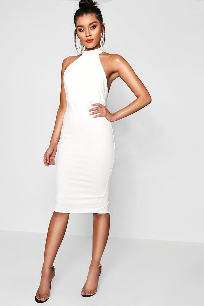 2e7244c4565bd High Neck Midi Dress in 2019   All White Outfits   Dresses, Boohoo ...