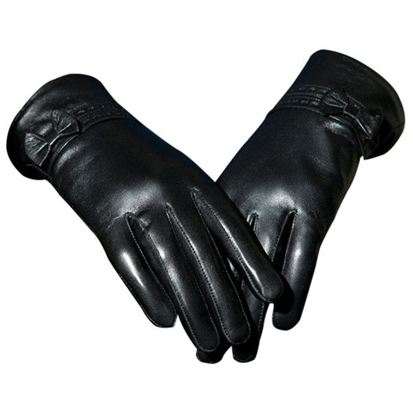 Black Pretty Ladies Bow Short Winter Warm Leather Gloves (85 BGN) ❤ liked on Polyvore