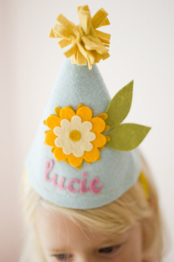 Girls Felt Birthday Hat  Flower  Blue and Yellow by mosey on Etsy, $22.00