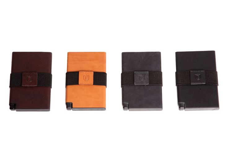 The Senate - An ultra-slim trackable wallet that provides instant card access at the click of a button. Available in Cognac, Nappa Black, Coffee Brown, Steel Blue