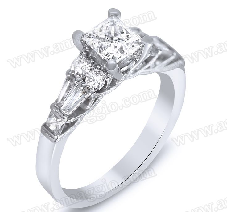 1.75cttw Princess Center Diamond Set In A Prong & Channel Setting By Buccinni