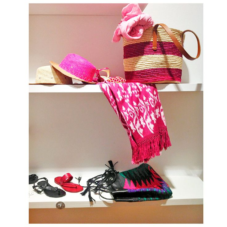 Winwood Fashion Showroom display of our SS15 collection. #Handbags #Panamahat #coverups