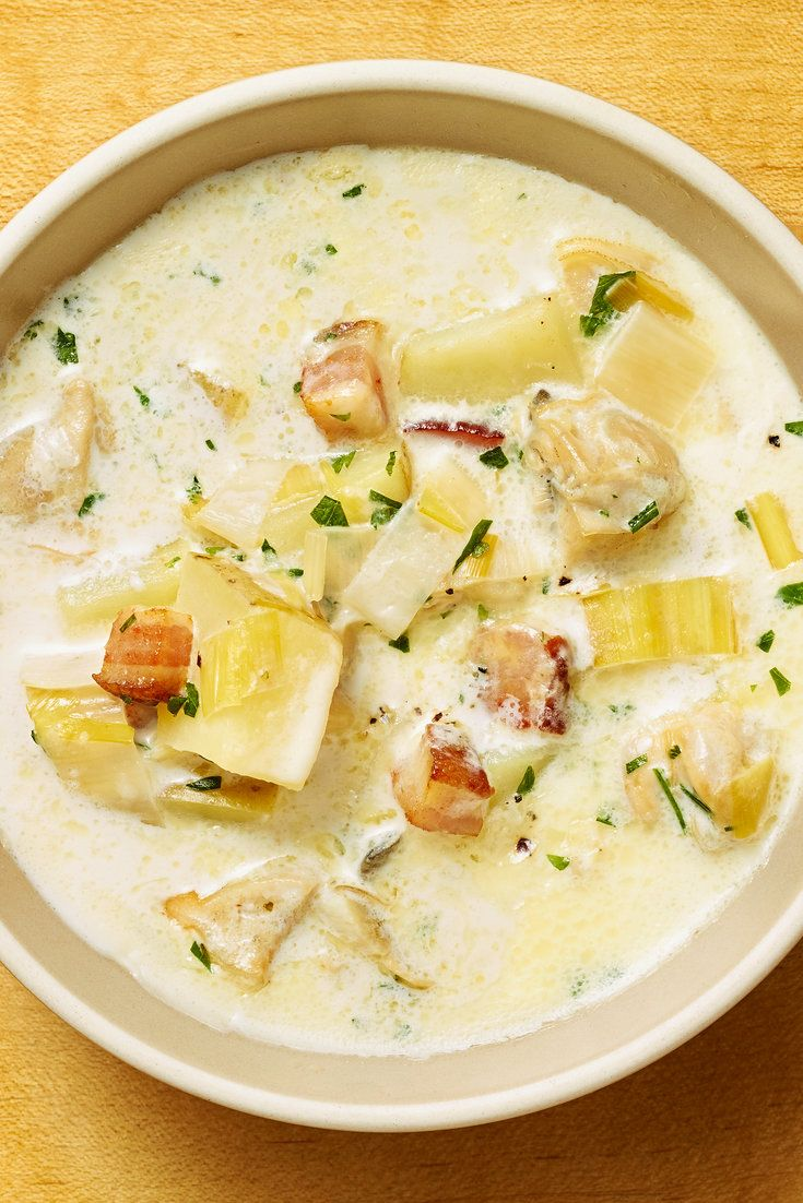 This is a basic New England clam chowder, though with leeks used in place of the traditional onions, and a splash of wine to add a floral note Also: thyme Very continental