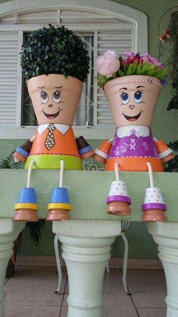 Friends, Clay Pot People, Terra Cotta Pots, Clay Pots, Garden Art, DIY