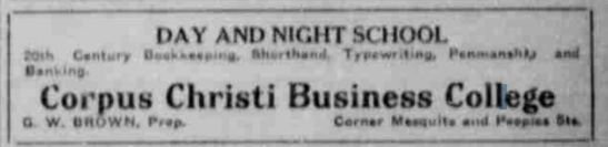 ad for Corpus Christi Business College; source: January 7, 1917 Corpus Christi Caller & Daily Herald, p. 3.