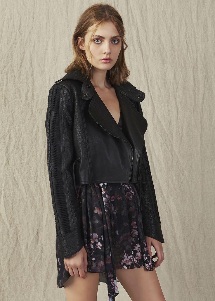 Leather jaket over sized collar mini floral dress IMG Model. #AjeTheLabel #Aje #Fashion #Style #LookBook #AW17 #Autumn #Winter #2017