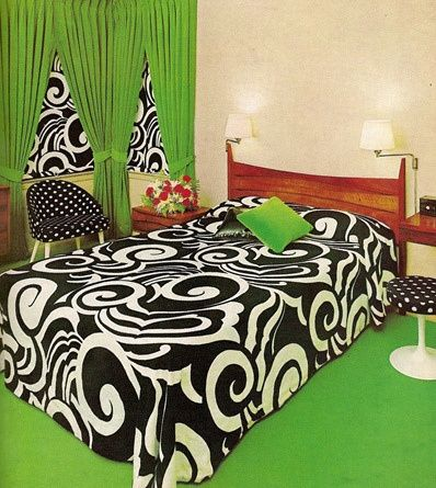 green and black and white bedroom by Naughty Secretary Club, via Flickr