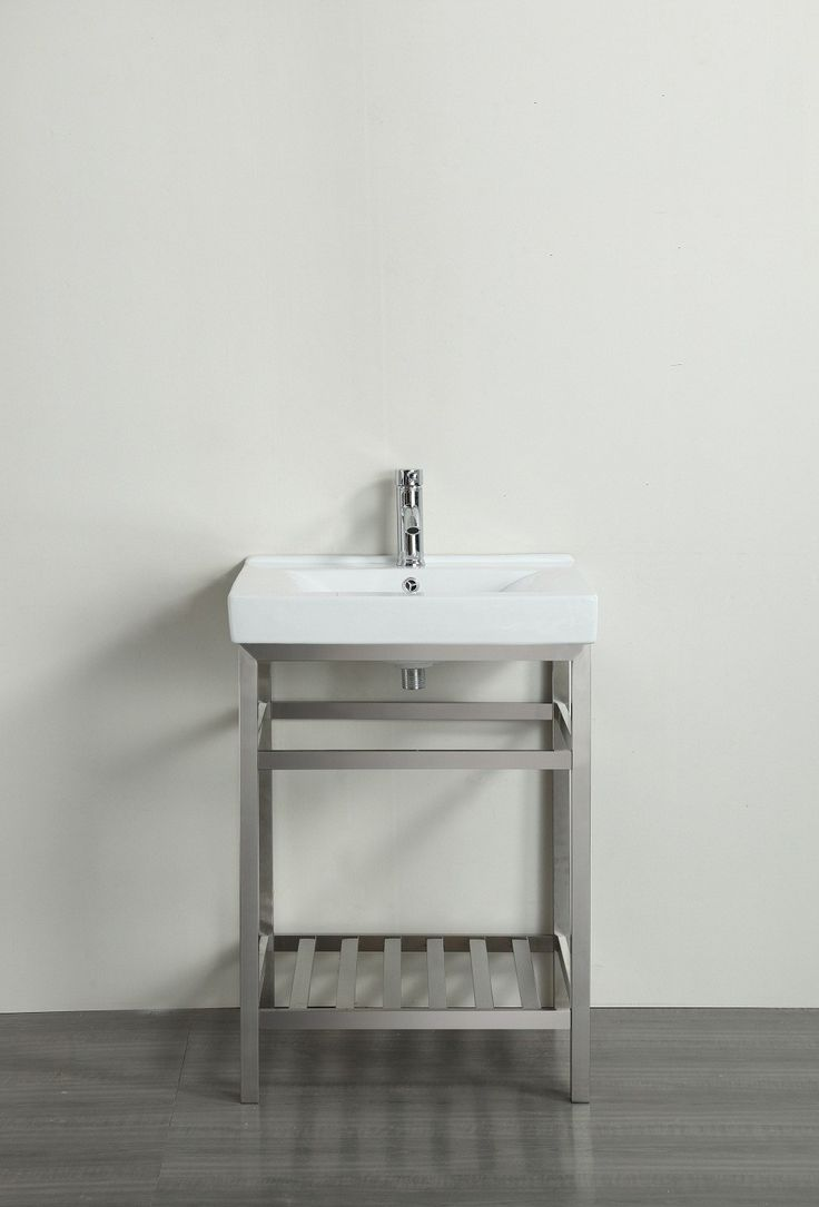 """Eviva Stone® 24"""" Bathroom Vanity Stainless Steel with White Integrated Porcelain Top"""