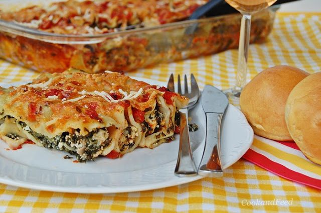 Spinach And Cheese Stuffed Cannelloni