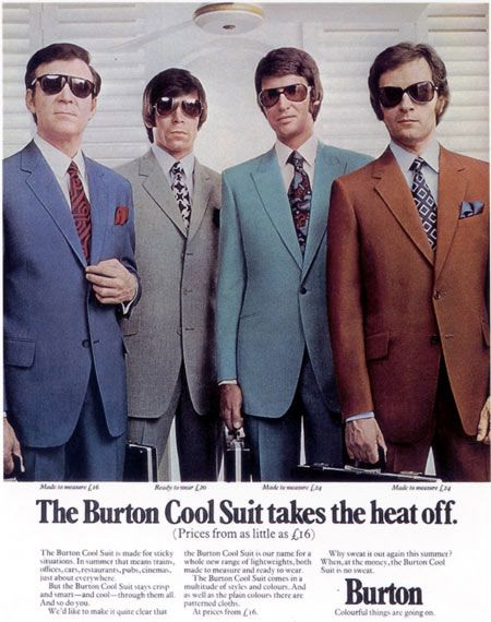 "(Sian Brown) 1960 mens suit included a straight legged pant paired with suit jackets that had a low ""v"" shaped neckline with a slim lapel collar to match."
