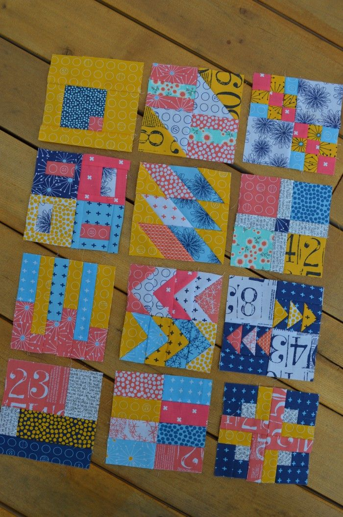 simple six inch modern sampler quilt blocks, some from Tula Pink Book, some with tutorials on blog, Colorgirlquilts.com